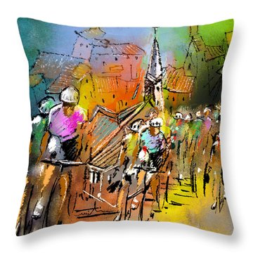 Le Tour De France 04 Throw Pillow by Miki De Goodaboom