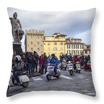 Vespe Di Firenze Throw Pillow