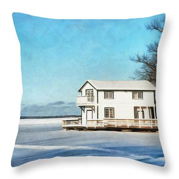 Leacock Boathouse In Winter Throw Pillow