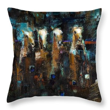 Lead Mares Throw Pillow by Frances Marino