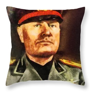 Leaders Of Wwii - Benito Mussolini Throw Pillow