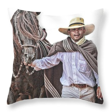 Leading To Competition Peruvian Horse Throw Pillow