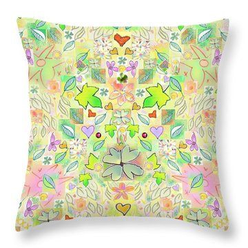 Leaf And Flower And Heart Pattern  Throw Pillow