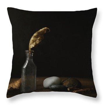 Leaf Bottle Rocks Throw Pillow