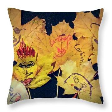 Leaf Family Throw Pillow by Jana E Provenzano