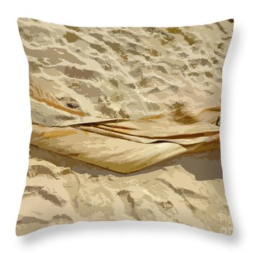 Throw Pillow featuring the digital art Leaf In The Sand by Francesca Mackenney