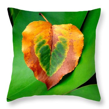 Leaf Leaf Heart Throw Pillow