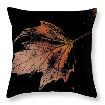Leaf On Bricks Throw Pillow by Tim Allen