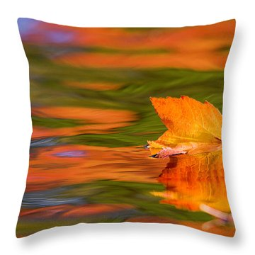 Leaf On Water Throw Pillow