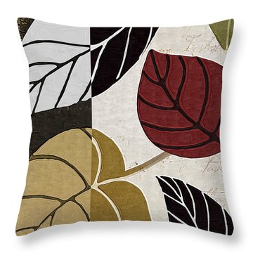 Leaf Story Throw Pillow by Mindy Sommers