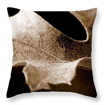 Leaf Study In Sepia Throw Pillow by Lauren Radke