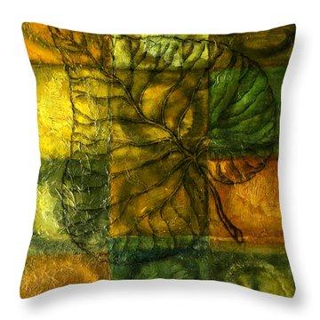 Leaf Whisper Throw Pillow by Leon Zernitsky