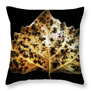 Leaf With Green Spots Throw Pillow by Joseph Frank Baraba