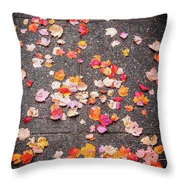 Leafy Autumn Walk Throw Pillow