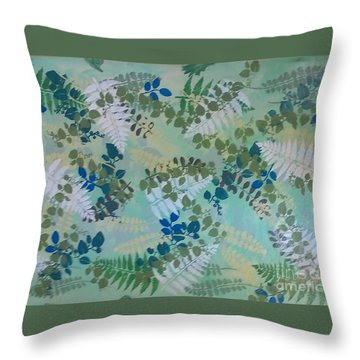 Leafy Floor Cloth Throw Pillow by Judith Espinoza