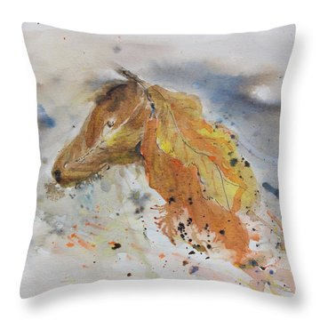 Leafy Horse Throw Pillow