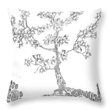 Leafy Jewels Throw Pillow
