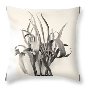 Leafy Ribbons In Shades Of Gray Throw Pillow