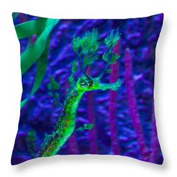 Leafy Sea Horse Throw Pillow