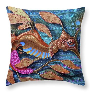 Leafy Seadragon Throw Pillow