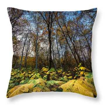 Leafy Yellow Forest Carpet Throw Pillow