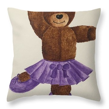 Throw Pillow featuring the painting Leah's Ballerina Bear 1 by Tamir Barkan