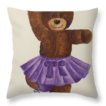 Throw Pillow featuring the painting Leah's Ballerina Bear 2 by Tamir Barkan