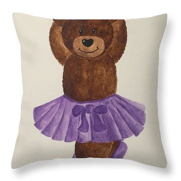 Throw Pillow featuring the painting Leah's Ballerina Bear 3 by Tamir Barkan