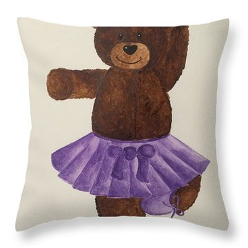 Throw Pillow featuring the painting Leah's Ballerina Bear 4 by Tamir Barkan
