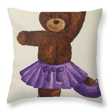 Throw Pillow featuring the painting Leah's Ballerina Bear 5 by Tamir Barkan