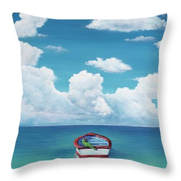 Leaky Little Boat Throw Pillow