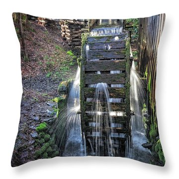 Throw Pillow featuring the photograph Leaky Mill Wheel by Alan Raasch