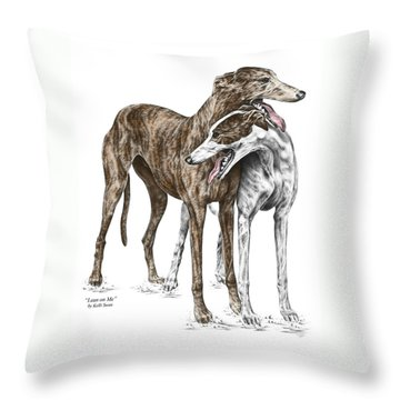Throw Pillow featuring the drawing Lean On Me - Greyhound Dogs Print Color Tinted by Kelli Swan