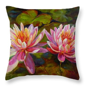Throw Pillow featuring the painting Lean On Me by Chris Brandley