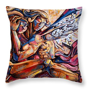 Lean On Me Throw Pillow by Darwin Leon