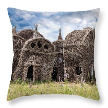 Lean On Me - Stick House Series 1/3 Throw Pillow by Patti Deters