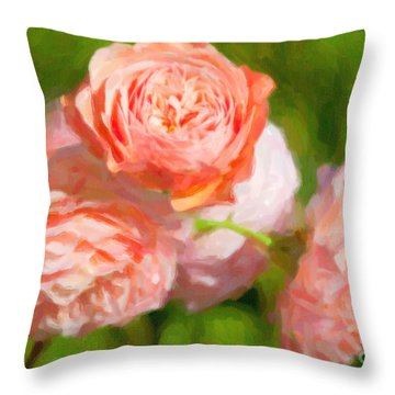 Leander English Rose Throw Pillow by Verena Matthew