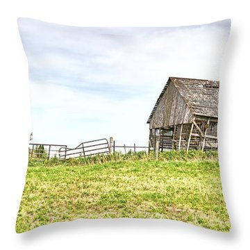 Leaning Iowa Barn Throw Pillow