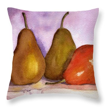 Leaning Pear Throw Pillow by Lynne Reichhart