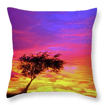 Leaning Tree At Sunset Throw Pillow