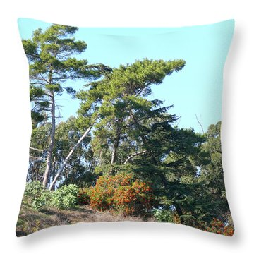 Leaning Trees On Hillside Throw Pillow