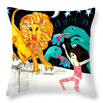 Leap Away From The Lion Throw Pillow by Sushila Burgess