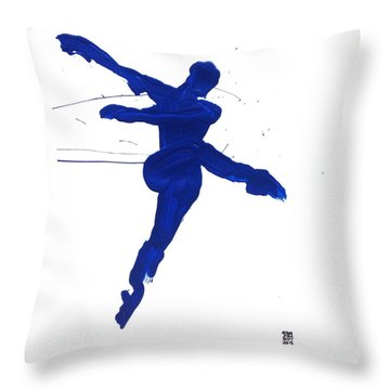 Leap Brush Blue 1 Throw Pillow by Shungaboy X
