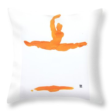Leap Brush Orange 1 Throw Pillow by Shungaboy X