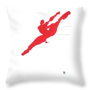 Leap Brush Red 3 Throw Pillow by Shungaboy X