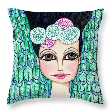 Throw Pillow featuring the mixed media Leap Of Faith by Lisa Noneman