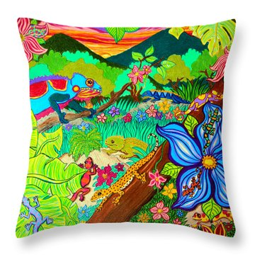 Leapin Lizards Throw Pillow