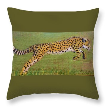 Leaping Cheetah Throw Pillow