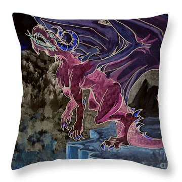 Throw Pillow featuring the mixed media Leaping Dragon 2 by Reed Novotny