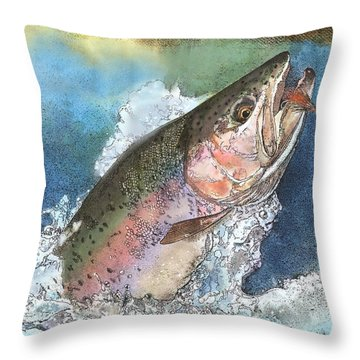 Throw Pillow featuring the painting Leaping Rainbow Trout by John Dyess